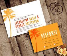 PRINTABLE WEDDING Invitation Set Palm Tree Beach by KittyLovesLou,