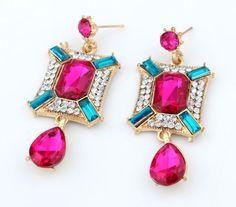 fashion jewelry wholesale raindrop stone crsytal stud earrings cubic stunning geometric rhinestone statement earrings DL6999