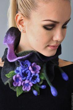 """Валяный шарф """"Аромат фиалки"""" — работа дня на Ярмарке Мастеров. Узнать цену и купить: http://www.livemaster.ru/miss-voilok  Felted scarf #handmade #design #felting #fashion #woolart #purple #livemaster #ярмаркамастеров #ручнаяработа #рукоделие #валяние #войлок"""