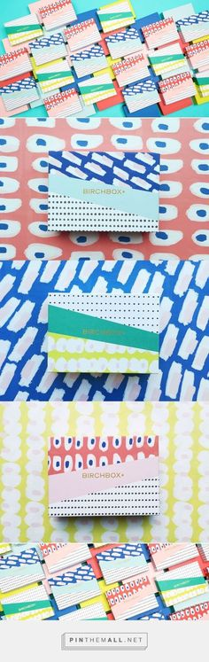 "Love this combination of patterns in ""slices""!  This article has loads of great ideas for using pattern in graphic design. (This design was for Birchbox March 2015 by Mary Rabun)"