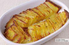 Receta de patatas dominó al horno. Con fotografías del paso a paso, consejos y sugerencias de degustación. Recetas de guarniciones, recetas vege...