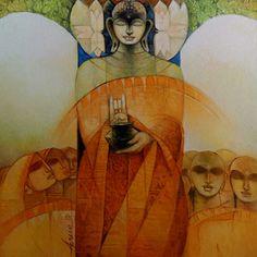 Buddha II - Painting by Arun Kumar Samadder