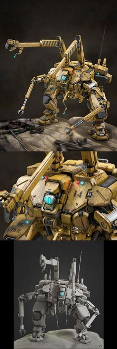 Fix It by Victoria Passariello robot mech Sci Fi Models, Cool Robots, Modelos 3d, Robot Concept Art, Suit Of Armor, Robot Design, Futuristic Technology, Mechanical Design, Science Fiction Art
