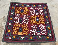 Cloth Wall Hangings black suzani - flower patterns - handmade old suzani blanket table