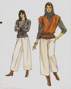 Misses Top, Pants, Vest and Hood: Loose-fitting, pullover top has full length sleeves worn pushed up. Straight-legged pants, 2 above ankle, have