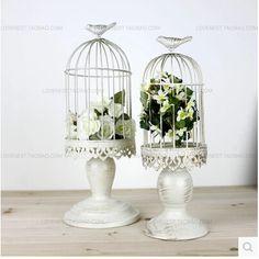 franse retro mode witte ijzeren vogelkooi decoratieve vogelkooien bruiloften decoratie tafel bruiloft decoratie kandelaar zt056(China (Mainland))