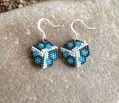 Blue Flowers Triangle Beaded Earrings by DoubleACreations on Etsy