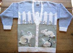 Hand Knitted Marisa Christina Classics Cardigan Easter Bunny Sweater | eBay $39.99