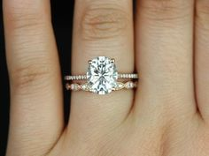 Blake & Christie 14kt Rose Gold Oval FB Moissanite and Diamonds Cathedral Wedding Set (Other metals and stone options available) on Etsy, $2,725.00