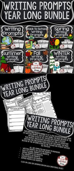 Writing Prompts BUNDLE is at a low discounted price with over 170 Writing Prompts. Each set has double the pages because of the options given to the teacher for student success! Plus Graphic Organizers for Narrative, How To, Expository Writing and Publishing Pages!