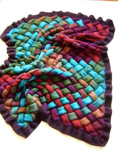 Free knitting pattern for Autumns Bounty Entrelac Blanket Afghan