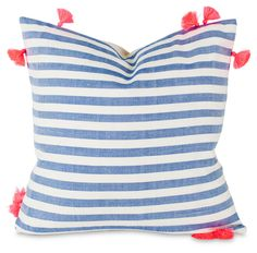 For nautical nursery decor or beach house boho neon tassel pillow stripes Dorm Design, Dorm Room Designs, Blue Throw Pillows, Bed Pillows, Cushions, Accent Pillows, Soft Kitty Warm Kitty, Nautical Nursery Decor, Cute Home Decor