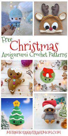 Free Christmas Amigurumi Crochet Patterns Crochet Patterns Amigurumi, Crochet Hats, Holiday Crafts, Free Printables, Bullet Journals, Dolls, Mom, Knitting, Birthday