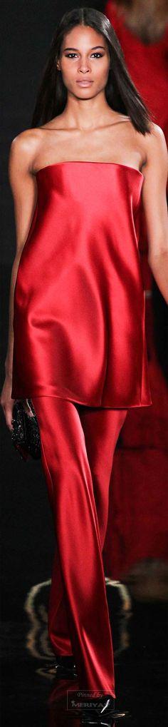 Valentin Yudashkin ~ Fall Strapless Tunic w Pant, Red, 2015.