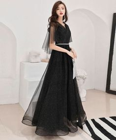 Black tulle long prom dress, black tulle evening dress - Black tulle long prom dress, black tulle by PrettyLady on Zibbet Source by sophisticatedtrashcan - Grey Evening Dresses, Burgundy Evening Dress, Black Prom Dresses, Grad Dresses, Pretty Dresses, Beautiful Dresses, Dress Outfits, Fashion Dresses, Formal Dresses