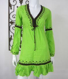 MODA INTERNATIONAL LONG SLEEVE DRESS SIZE XS, GREEN  #ModaInternational #Casual