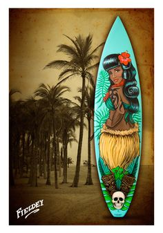 Retro hawaiian pin-up girl on a surfboard Surfboard Painting, Surfboard Decor, Vintage Tiki, Vintage Mermaid, Best Surfboards, Tiki Art, Tiki Tiki, Fantasy Mermaids, Real Mermaids