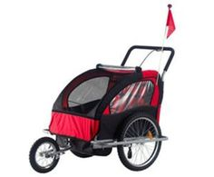 2 in 1 Children's Bicycle Trailer & Stroller – Black/Red