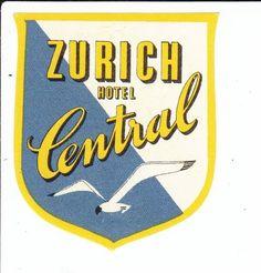 ZÜRICH - HOTEL - HOTEL CENTRAL - HOTELKLEBER - KOFFERKLEBER