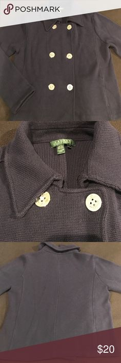 NWOT Ralph Lauren Button Down Sweater NWOT. Lauren Ralph Lauren size large. Navy blue thick Knit collared sweater. Down the front is 2 rows of 3 large silver buttons with anchors engraved on them. The inner row is for show & actually closes with inside hidden buttons. Option to hook below collar with inside hook. Dual front pockets (still sewn shut). 100% Cotton. Very soft, comfortable, & warm. Lauren Ralph Lauren Sweaters