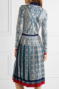 Mary Katrantzou - Briscola Pleated Metallic Jacquard-knit Dress - Blue