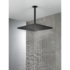 SUS 10-inch Rainfall Shower Head Bathroom Square Top Sprayer Sharp Nozzles Black