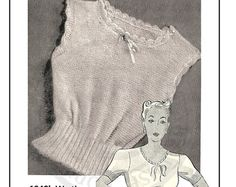 Wartime Everyday Thermal Vest and Panties PDF Knitting Pattern Bust 1940s Fashion, Vintage Fashion, Vintage Lace, Vintage Style, Ladies Vests, Patterned Sheets, Nightgowns, 2 Ply, Tejidos