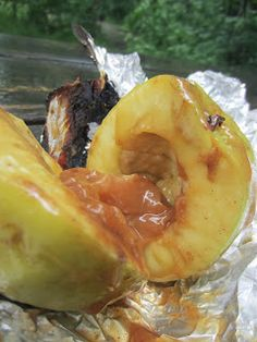 Campfire Roasted Caramel Apple Recipe- so addictive! Delicious caramel apples roasted in the fire with tin foil. #camping