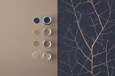 Deep, rich midnight tones are perfectly highlighted with copper metallic on this beautifully textured wallpaper. Accent Wallpaper, Powder Room Wallpaper, Navy Wallpaper, Wallpaper Decor, Blue Wallpapers, Copper Colour Palette, Gold Color Palettes, Gold Palette, Copper Color