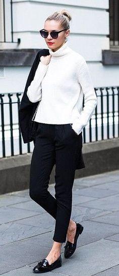 classic black + white street style. turtle neck.