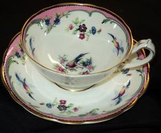 Star PARAGON ART DECO BLUE BIRD VERY WIDE ONE TEA CUP AND SAUCER