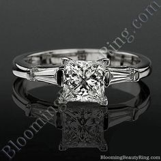 4 Prong 3 Stone Princess Diamond Setting with 2 Baguette Side Diamonds – bbrnw2142 | Unique Engagement Rings for Women by Blooming Beauty Jewelry