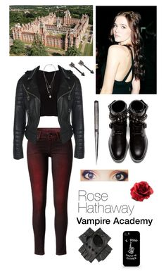 """Rose Hathaway - Vampire Academy by Richelle Mead"" by dresslikeabookcharacter ❤ liked on Polyvore featuring Pepe Jeans London, Alice + Olivia, Yves Saint Laurent, Monki and Maison Margiela"