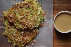 okonomiyaki - deelish pancake with shrimp, cabbage and ?  Looks yum!