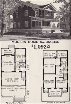 "1916 Sears, Roebuck and Company 2 story house for one thousand & ninety two dollars.  From 1908 to 1940 Sears, Roebuck and Company sold ready to build house kits with no sawing or nailing.  Everything was bolted together.  The ""home in a box"" as it was called, was delivered to the local train depot.  By building your own home, this allowed a home buyer to  be able to afford a good quality home."