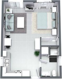Granny pods layout The Santa Cruz - Granny Flat Small Apartment Layout, Studio Apartment Floor Plans, Studio Apartment Layout, Small Apartment Interior, Apartment Decorating On A Budget, Apartment Plans, Apartment Design, House Floor Design, Sims House Design