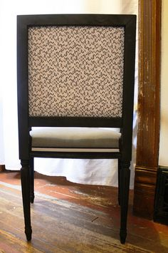 Spray painted and re-upholstered chair.