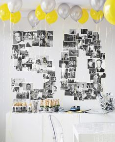 Birthday party idea. B/W photos.  This one's for #50 but could work for any number!