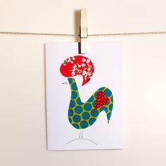 Cartão artesanal com estampa do Galo de Barcelos, o galo português. Retirado de: http://www.wildatartatelier.com/product/portugues-cards-galo-de-barcelos/