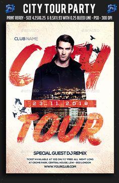 City Tour Party Flyer Template PSD