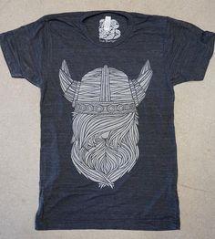 Dark Grey Viking Beard T-Shirt | Yearg! Grnalrg! This hand-screened t-shirt features an origina... | T-Shirts