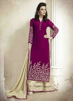 http://www.sareesaga.in/index.php?route=product/product&product_id=28207 Work	:	Embroidered Resham Work Style	:	Salwar suit Shipping Time	:	10 to 12 Days Occasion	:	Party Festival Fabric	:	Georgette Colour	:	Magenta For Inquiry Or Any Query Related To Product, Contact :- +91-9825192886, +91-7405449283
