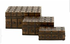 Features:Wood Metal Box Set of 3 Dimensions (inches): L 12 x W 8 x H L 10 x W 6 x H L 8 x W 4 x H from metal and woodTraditional in look and appealDescription:These classy and antique looking wood metal boxes will infuse your decor wit Metal Box, Wood And Metal, Decorative Objects, Decorative Boxes, Mahogany Brown, Metal Flowers, W 6, How To Antique Wood, Joss And Main