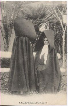 """The women of the Azores didn't wait """"ten thousand years"""" to stop wearing the """"capote e capelo"""", but it was part of the past by the but it is still a historic symbol of women of the islands. Daughters Of Charity, Folk Costume, My Heritage, Video Photography, Portuguese, Old Photos, Cape, Mystery, The Past"""