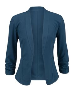 Blue 3/4 Cinched Sleeve Open Front Blazer Large / Deep Teal #maurices #Blazer Style #28221