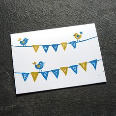 SALE! Birds & Bunting Hand Printed Linocut Birthday Card