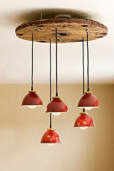 Industrial metal shade pendant chandelier on Etsy, $595.00