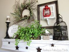 I am IN. LOVE. with this lovely mantle!!  Visit Today's Fabulous Finds for some amazing tutorials and DIY ideas.