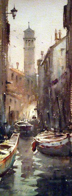 Dusan Djukaric, Venice Canal, Watercolour, 20x50cm