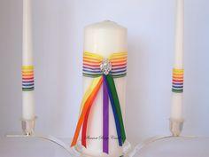 Rainbow Unity Candle Set Wedding Rhinestone. $41.00, via Etsy.